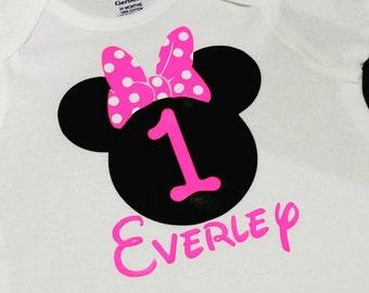 Minnie Mouse 1st Birthday Onesie