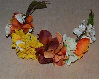 Fall Floral Crown - Sunflowers Peonys and Hydrangeas- Bridesmaids, Special Events, Prom, Homecoming, Floral crown