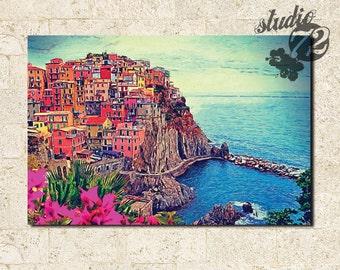 Village of Manarola, on the Cinque Terre coast of Italy- Canvas Print - Wall Art