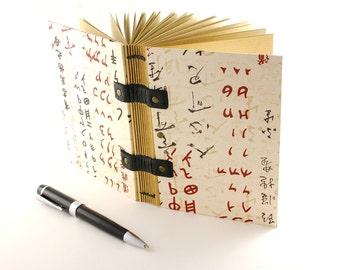 Travel diary for man, Coptic binding, notebook, book, for him, A6 size, leaves kraft