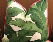 Banana leaf Palm print pillow cover, tommy bahama fabric, palm print, beverly hills hotel, chinoiserie, outdoor fabric, green pillow
