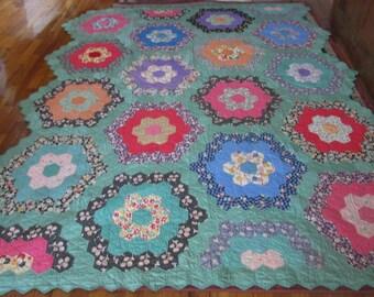 Antique Grandmother's Flower Garden Quilt Vintage Flower Garden  Hand Stitched Quilt