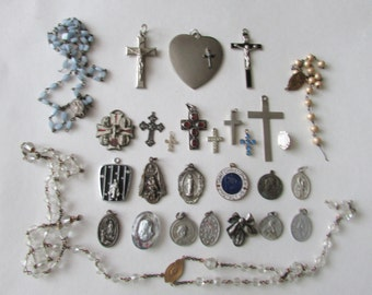 28 Vintage Religious Medals Cross Rosary Bead Parts Lot Rosary Medal