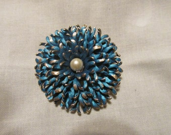 Vintage Kramer Teal and Pearl Brooch