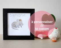 Welcome baby. Crowned mouse drawing. Original framed watercolor. Custom birth gift.