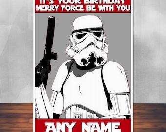 Star Wars birthday card: Stormtrooper fan art. 5x7 inches (128mm x 178mm). Personalised, plus envelope.