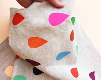 Bright Raindrop Oatmeal Linen Tea Towel