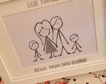Hand Drawn Framed Family Portrait (4 people)