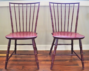 Vintage Bamboo Chairs | Nichols And Stone Painted Chairsd | Bamboo Windsor  Chair | Farmhouse Decor