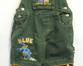 Boy's Vintage 90's,Green BIB Overall/Shortalls By BLUE'S CLUES.3T