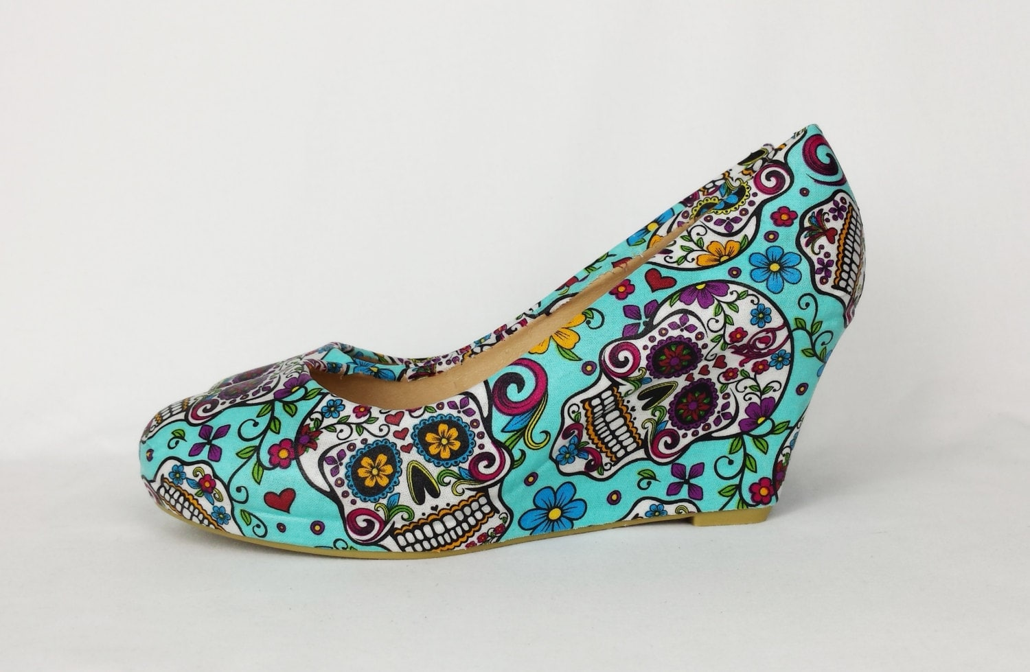 Blue shoes turquoise wedges women shoes sugar skull shoes