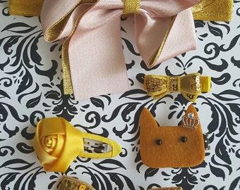 Headband and Hair Clip Set, Princess Kitty Gold