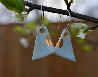 Pale Blue Porcelain Earrings with Gold Accents