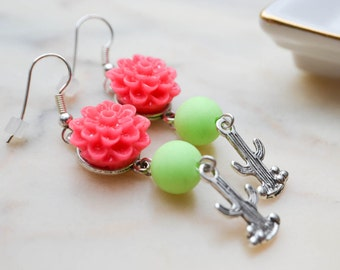 Dangling earrings - neon pink - green - cactus - summer jewelry - funky pop
