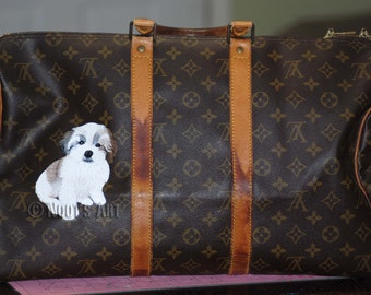 Custom handpainted Louis Vuitton bag....Pet portraits...Customer provided the handbag...Made to Order!!!
