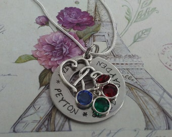 Hand Stamped hearts,Mommy, Grandmother, Nana, Mimi, Personalized Necklace Charm Birthstones