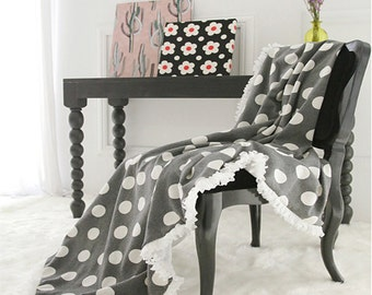 Gray Polka Dot Cozy Cotton Blend Throw Blanket 39 by 55 inch for Bed and Sofa Perfect for Housewarming Gift