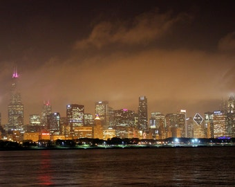 Chicago Skyline Photography Wrapped Canvas | Chicago Photography | Skyline Photography | Wrapped Canvas | Home Decor| Sepia Tones with Color