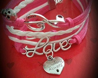 "Here is a stunning Leather Bracelet with ""Sisters Always...Friends Forever"" Charm"