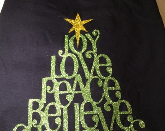 Joy Love Peace Believe Christmas Shirt - long sleeve tee - Christmas shirt - glitter