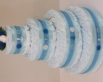 4 Tier Bronze Buoys Nappy Cake - Baby Shower Gift Diaper Cake New Baby Gift Hamper Sydney Melbourne Brisbane Australia