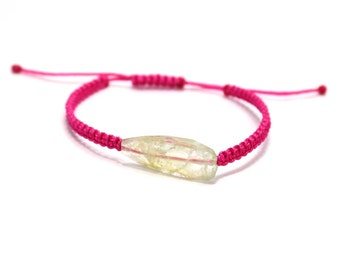 Natural Raw Routile  Handmade Thread Bracelet Pink Free Size Adjustable By Amoreindia B324