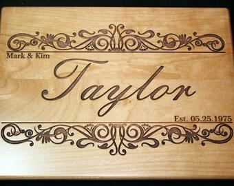 Custom Cutting Board Personalized Wedding cutting board , Engraved Laser engraved Wedding Gift - Wedding Gift, Established Date -Anniversary