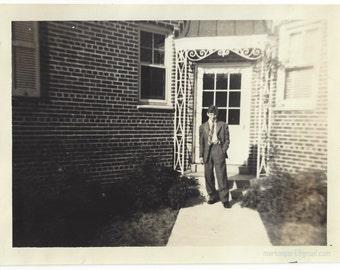 Adolescent Boy in a Suit, 1950s (est), Old Family Photograph