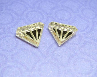 Laser Cut Mirror Acrylic Diamonds 4pc
