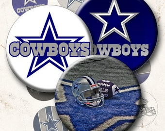 Dallas Cowboys - 15 Images 1 Inch Circle 4 x 6 Digital Collage Sheet For Bottlecaps, Cuff Links, Earrings, Necklaces, Cupcake Toppers