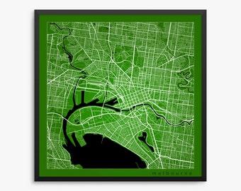 Melbourne Street Map, Melbourne Australia, Modern Art Print