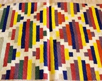 bright geometric boho handmade indian reversible cotton dhurrie rug slightly larger than 3x2ft