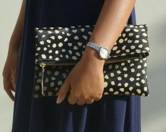 Monochrome leopard clutch, leopard fold over clutch, leopard print, leopard leather clutch, leather clutch, leopard purse, leather purse