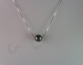 black pearl pendant, single pearl pendant , swarovski pearl/ pendant.