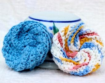 Dish scrubbies ~ Kitchen scrubbies ~ Dishcloth ~ Tawashi ~ Crochet spiral scrubbies ~ Crochet dishcloths ~ Cotton dishcloths
