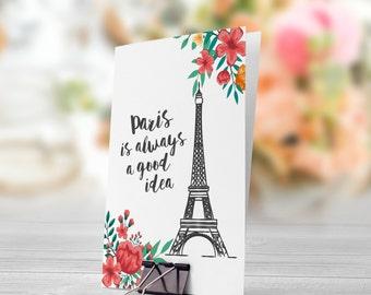Paris Is Always A Good Idea 5x7 inch Folded Greeting Card - GC1008