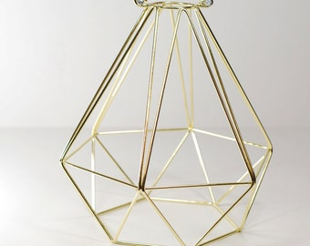 Vintage Industrial Diamond Wire Cage for Desk Side Lamp or Pendant Light - Gold