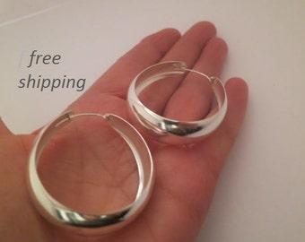 Large wide silver hoop earrings, 92.5 sterling silver; boho, gypsie