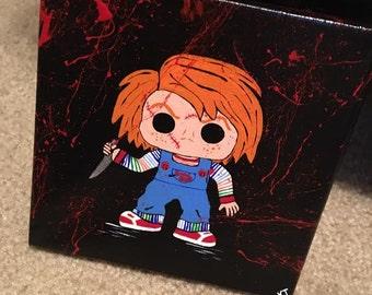 Killer Crafts - Funko Pop Party: Horror No. 3 - Handpainted Canvas - Horror Fan Art   Chucky   Child's Play