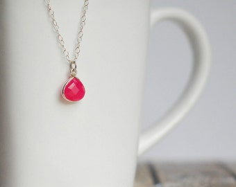 "Hot Pink Chalcedony Pendant Necklace, Set in Sterling Silver, Sterling Silver 18"" Chain"