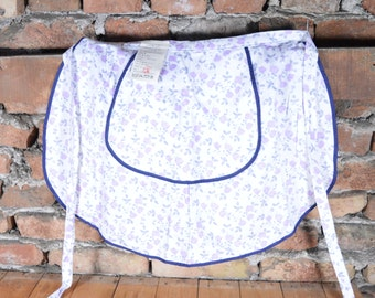 Vintage Ladies Apron / Woman's Waist Apron Cotton / Colorful Kitchen Apron / White Blue Bulgarian Cotton Apron / Retro Apron NOS