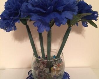 SALE* Handcrafted Blue Carnation Flower Pen Pot / Wedding, Shower or Office Gift