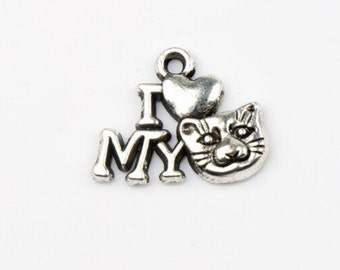 15 I Love My Cat Silver Plated Charms 1-Sided Cat Lover Animals US SELLER