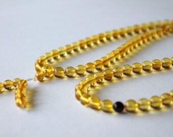 Tibetan Buddhist amber rosary mala, natural amber beads, lemon amber rosary, mala prayer rosary, 7.0 mm round beads, 108 round amber beads