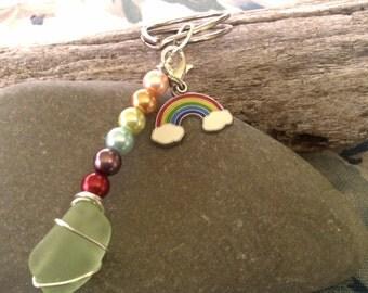 Beachglass Keychain/Rainbow keychain/zipperpull