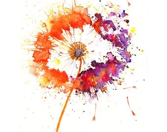 Contemporary Watercolour ART PRINT Original LIMITED Edition Signed Dandelion On Watercolour 300 gsm Paper Free Shipping To United Kingdom