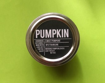 Pumpkin Candle - Scented Soy Candle - Fall Candle - by Etta Arlene Candles