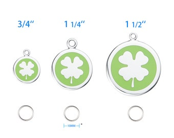 "Custom Engraved Stainless Steel Clover Pet ID Tag-Free Custom Engraving, Split Ring + 3/4"" (S) / 1-1/4"" (M) / 1-1/2""(L) Available-5112Clover"