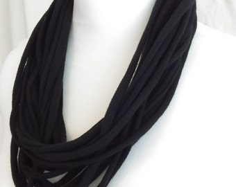 Upcycled Tshirt Yarn Black Necklace