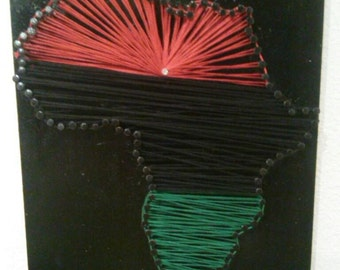The Red, The Green, The Black....Africa Continent String Art